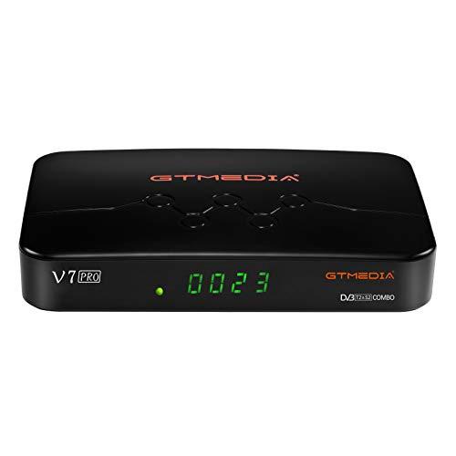 GT MEDIA V7 Pro Decodificador TDT Satelite Combo, con Antena WiFi USB / CA Lector de Tarjeta, Sintonizador TDT, DVB-S/S2/S2X DVB-T/T2 Full HD 1080p H.265 HEVC 10bit, Soporte CCcam Youtube autoBiss