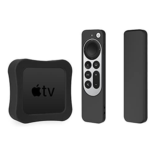Funda de silicona para Apple TV 4K 2021 y funda de silicona para Siri Remote 2 Pack Funda protectora (negro)
