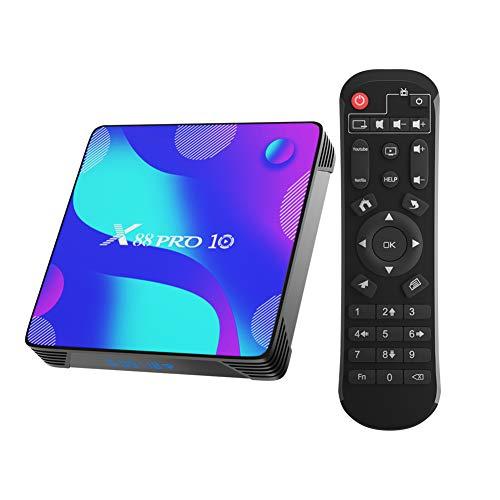 Android TV Box, X10 Android 10.0 Smart Box 4GB RAM 32GB ROM RK3318 Quad-Core 64bit Cortex-A53 Soporte 2.4GHz/ 5GHz WiFi 4K UHD BT4.0