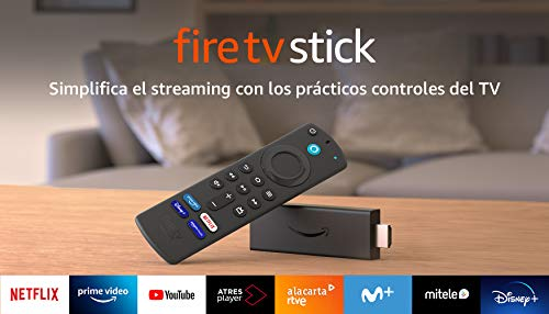 Fire TV Stick con mando por voz Alexa (incluye controles del TV), dispositivo de streaming HD, modelo de 2021