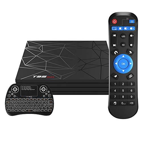 Android TV Box,T95 MAX Android 9.0 TV Box 4GB RAM/32GB ROM Quad-Core Soporte 2.4Ghz WiFi 6K Smart TV Box con Mini Teclado Inalámbrico
