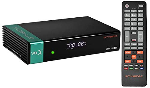 GTMEDIA V8X DVB-S / S2 / S2X Decodificador de Receptor de TV Satelital Digital con Wi-Fi Incorporado /1080P Full HD / FT Soporte CC CAM, Youtube, Ranura para Tarjeta CA, Biss Auto Roll