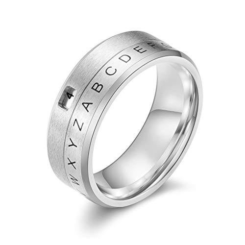 Sping Jewelry Anillo decodificador de mensaje secreto del alfabeto con número correspondiente del proyecto Mc2, dorado, plata/negro, tamaño de la banda 7-11 plateado