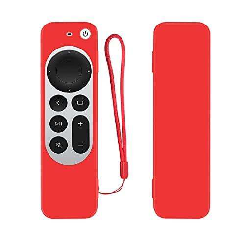 QULLOO Funda Compatible con Apple TV 4K (2021) Remoto,Anti-Deslizante Anti-arañazos Silicona Protección Case Cover - Rojo
