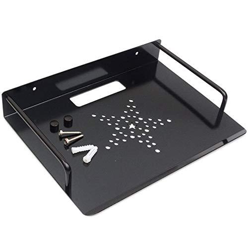 JanTeelGO DVD Pared Soporte para Estante, aleación de Aluminio Pared Soporte para Estante para TV Box, Apple TV, Roku 3/2, Router, decodificador, Mini PC (1 Tier, Negro)