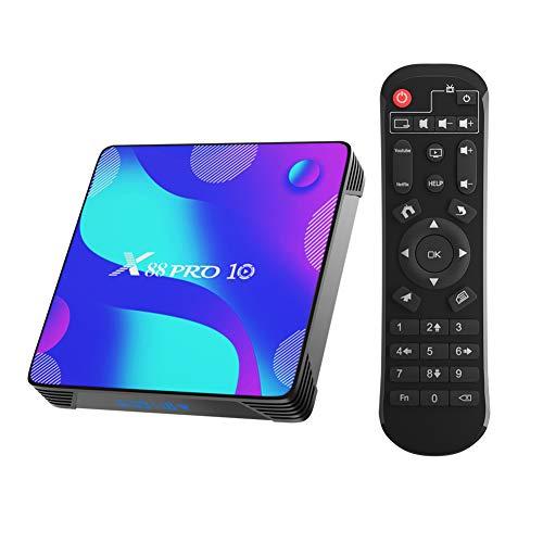 X88 Pro X10 Android 10.0 TV Box,4GB RAM 32GB ROM RK3318 Quad-Core 64bit Cortex-A53 Support 2.4/5.0GHz Dual-Band WiFi BT4.0 3D 4K 1080P H.265 10/100M Ethernet HD 2.0 Smart TV Box