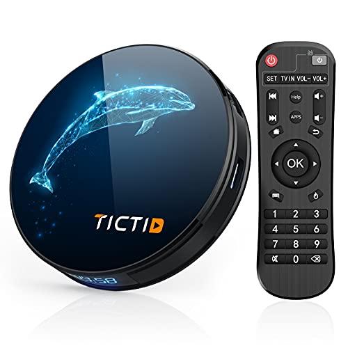 TICTID Android TV Box 10.0 D1 Plus【4G+32G】 RK3318 Quad-Core 64bit WiFi-Dual 5G/2.4G,BT 4.0, Smart TV Box 4K*2K UDR H.265, USB 3.0