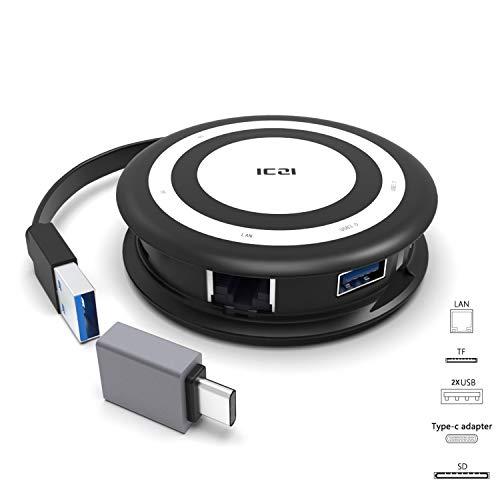 ICZI Hub USB 3.0 a Ethernet 2 USB 3.0 Lector de Tarjetas SD TF +1 Adaptador USB Tipo C a USB 3.0 para Movil Portatil con Puerto USB 3.0 y USB C Xiaomi mi Box (el adaptadorcito Viene insertado)