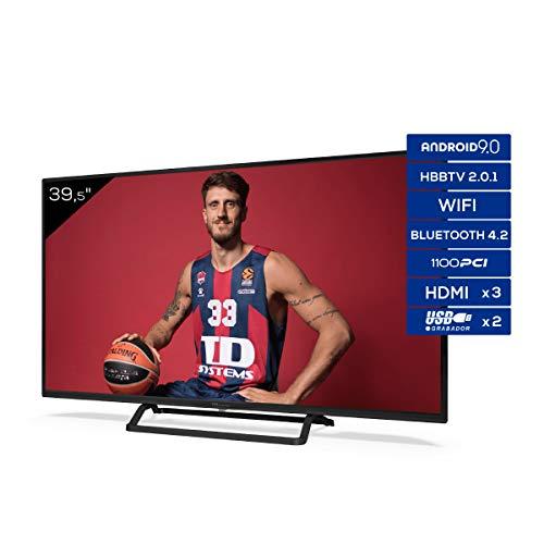TD Systems K40DLX11FS - Televisores Smart TV 39,5 Pulgadas Android 9.0 y HBBTV, 1100 PCI Hz, 3X HDMI, 2X USB. DVB-T2/C/S2, Modo Hotel. Televisiones