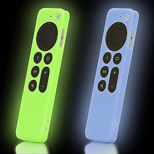 AIYAAIYA 2 PCS Funda de Silicona para Control Remoto Apple TV 4K 2021, Estuche Protectora de a Prueba de Golpes para Mando a Distancia Siri 6nd Gen con Cuerda Antipérdida (Glow Azul+Glow Verde)
