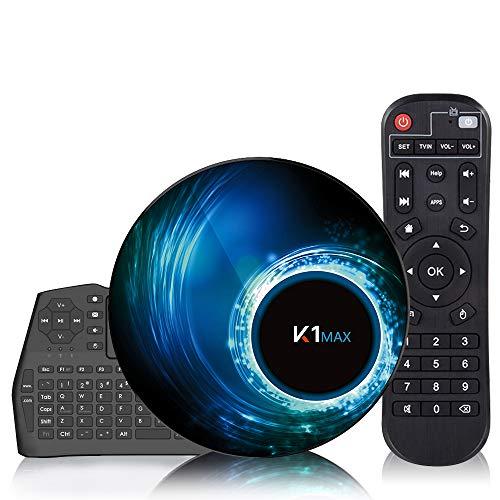 Caja de TV Android 10.0 [4G + 32G] con mini teclado inalámbrico, caja de Android RK3318 de 64 bits con procesador de chip de cuatro núcleos, Wi-Fi dual 5G / 2.4G, decodificador, caja de TV inteligente
