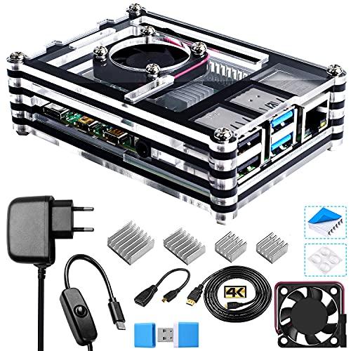 Bruphny Caja Kit para Raspberry Pi 4 con Ventilador, 5V 3A USB-C Cargador, 4 x Disipador, 1.8M Micro-HDMI Cable, USB Lector de Tarjetas, HDMI-Micro HDMI Adapter para Raspberry Pi 4 Modelo B