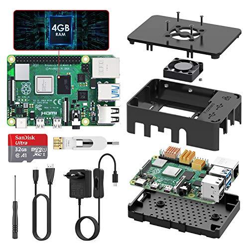 TICTID Raspberry Pi 4 Modelo B 4GB Kit, Versión Actualizada de Raspberry pi 3 con Tarjeta MicroSD de 32GB, Adaptador tipoC 5V 3A con Interruptor, Ventilador, Estuche y Lector de Tarjetas, etc
