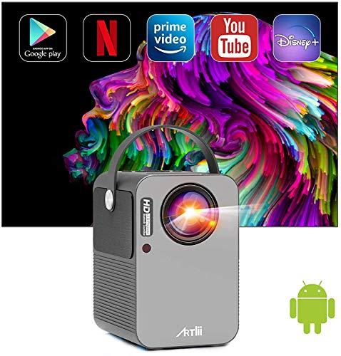 Proyector Android TV 9.0, Artlii Play Proyector Smart WiFi Bluetooth Portátil, Soporte AC-3, Corrección Keystone 4D de ± 45 ° y Zoom, Cine en Casa de 200