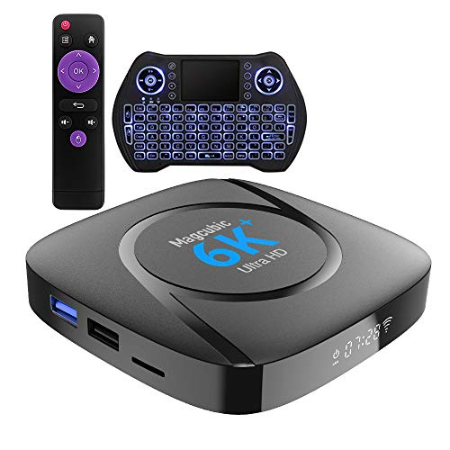TV Box Android 10 4GB Ram 64GB ROM Magcubic Smart TV Box Soporta 6K 4K 3D H.265 Dual WiFi /LAN BT5.0 Dotato di Chip Allwinner H616 TV Box con Mini Teclado