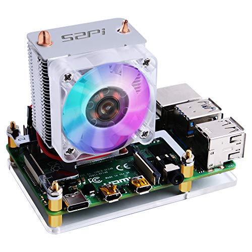 GeeekPi Ice Tower CPU Cooling Fan Ice Tower Fan para Raspberry Pi 4 Modelo B y Raspberry Pi 3B + y Raspberry Pi 3 Modelo B(Transparente)