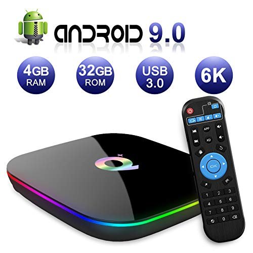 Android TV Box 9.0, Android Box 4GB RAM 32GB ROM H6 Quad Core Cortex-A53 Smart TV Box, soporta 6K de resolución 3D 2.4GHz WiFi Ethernet USB 3.0 Media Player